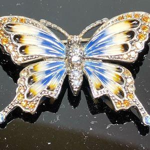 Monet Enamel and Rhinestone Butterfly Brooch